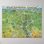 San Antonio Texas Cartoon Map Print