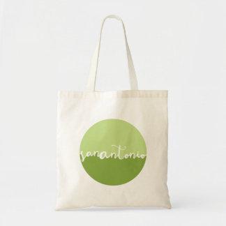 San Antonio, Texas | Green Calligraphy Ombre Tote Bag