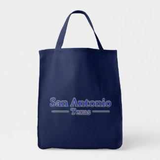 San Antonio Texas in Blue & Red Tote Bags