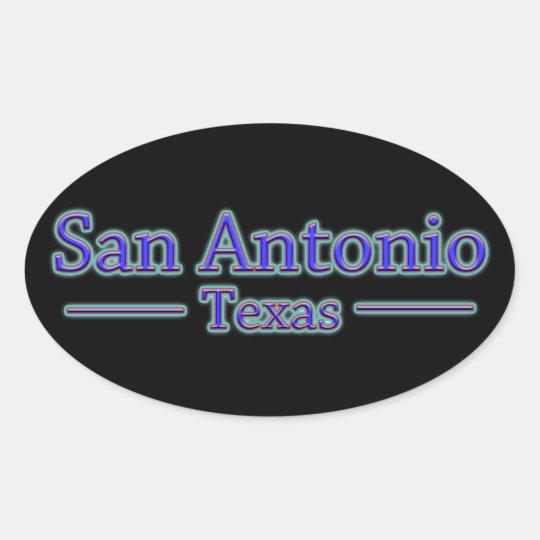 San Antonio Texas in Blue & Red - On Black Oval Sticker