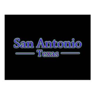San Antonio Texas in Blue & Red - On Black Postcard