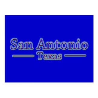 San Antonio Texas in Blue & Red - On Blue Postcard