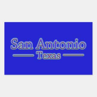 San Antonio Texas in Blue & Red - On Blue Rectangular Sticker