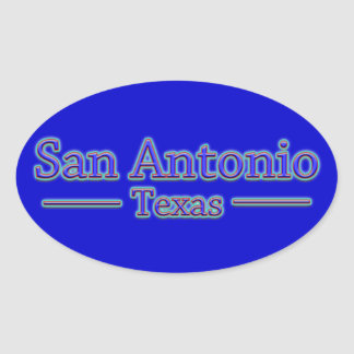 San Antonio Texas in Blue Red - On Blue Oval Stickers