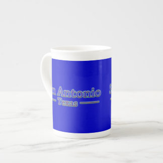 San Antonio Texas in Blue & Red - On Blue Tea Cup