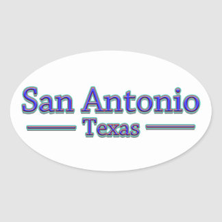 San Antonio Texas in Blue Red - On White Oval Stickers