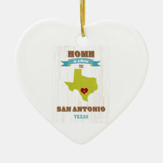 San Antonio,Texas Map – Home Is Where The Heart Is Double-Sided Heart Ceramic Christmas Ornament