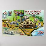 San Antonio TEXAS Map Print