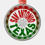 San Antonio Texas red green snowflake ornament