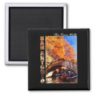 San Antonio, Texas:  River Walk Bridge 2 Inch Square Magnet