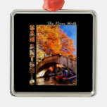 San Antonio, Texas:  River Walk Bridge Square Metal Christmas Ornament