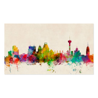 San Antonio Texas Skyline Cityscape Double-Sided Standard Business Cards (Pack Of 100)