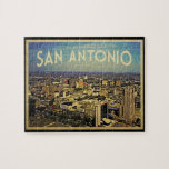 "San Antonio Texas Skyline Jigsaw Puzzle<br><div class=""desc"">The beautiful skyline of San Antonio,  TX in vintage styling makes this a special business metropolitan graphic.  The city never looked better.</div>"