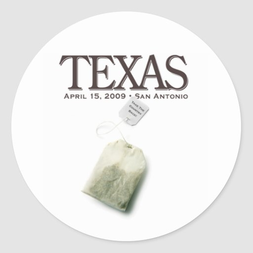 San Antonio, Texas Tea Party Classic Round Sticker