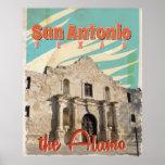 San Antonio, Texas, The Alamo Vintage Travel Art Poster