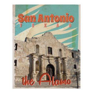 San Antonio, Texas, The Alamo Vintage Travel Art Poster