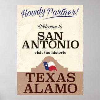 San Antonio texas vintage travel poster