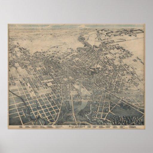 San Antonio TX Bird's Eye Panoramic Map 1886 Poster