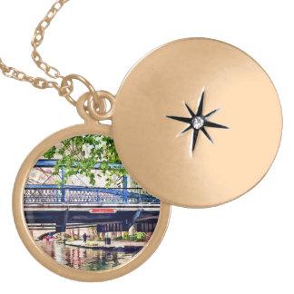 San Antonio TX - Bridge on Paseo Del Rio Gold Plated Necklace