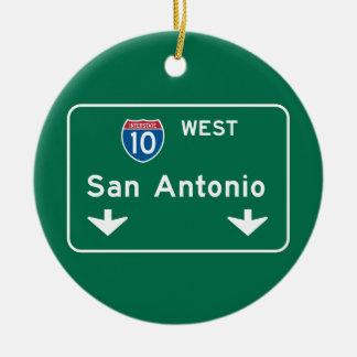 San Antonio, TX Road Sign Ceramic Ornament