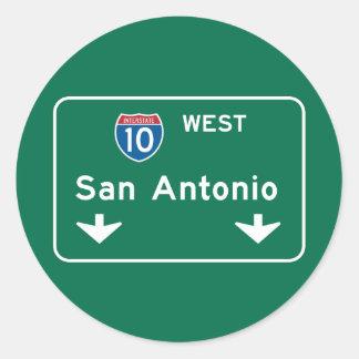 San Antonio, TX Road Sign Classic Round Sticker