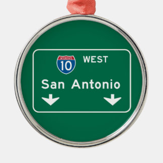 San Antonio, TX Road Sign Metal Ornament