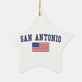 San Antonio US Flag Ceramic Ornament