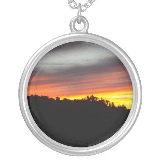 San Bernardino Mountain Sunset Round Pendant Necklace