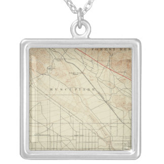 San Bernardino quadrangle showing San Andreas Rift Silver Plated Necklace