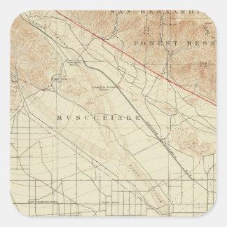 San Bernardino quadrangle showing San Andreas Rift Square Sticker