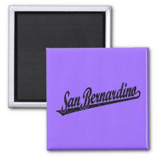 San Bernardino script logo in black distressed 2 Inch Square Magnet