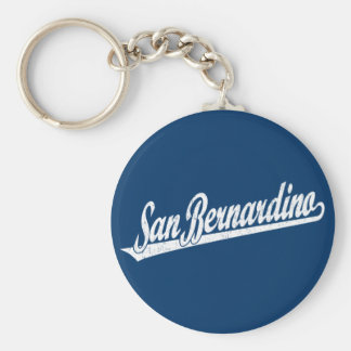 San Bernardino script logo in white distressed Keychain