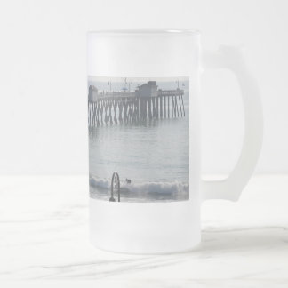 San Clemente California 16 Oz Frosted Glass Beer Mug