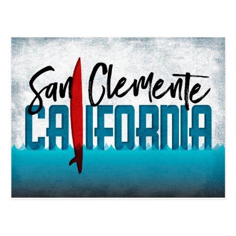 San Clemente California Surfboard Surfing Postcard