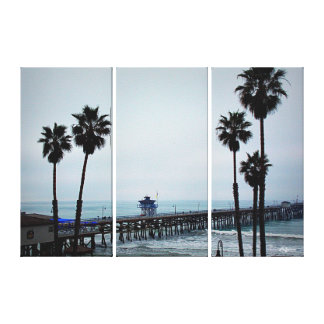 San Clemente Pier - 3 Panel Canvas Gallery Wrapped Canvas