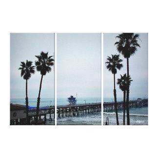 San Clemente Pier - 3 Panel Canvas