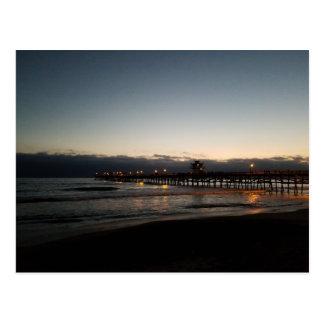 san clemente pier night time ocean california postcard