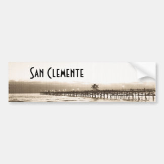 San Clemete pier California beach vintage photo Bumper Sticker