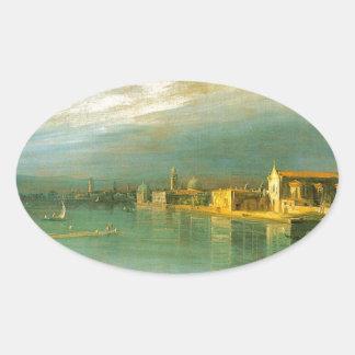 San Cristoforo, San Michele & Murano by Canaletto Oval Sticker