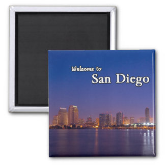 San Diego At Night 2 Inch Square Magnet