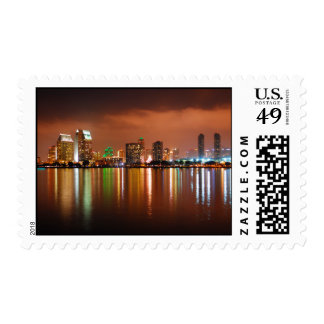 San Diego at Night - San Diego California Postage Stamp