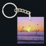 """San Diego Beach Sunset Keychain<br><div class=""""desc"""">Keychain featuring a photograph taken at sunset at a beach in San Diego,  California. You can customize the &quot;San Diego&quot; city phrase.</div>"""