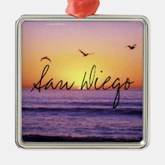 San Diego Beach Sunset Metal Ornament