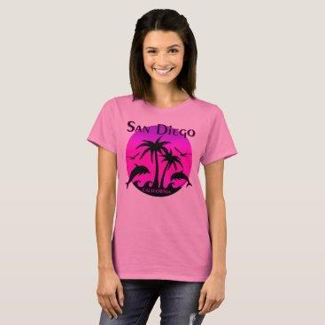 Beach Themed San Diego, CA Hot Pink T-Shirt