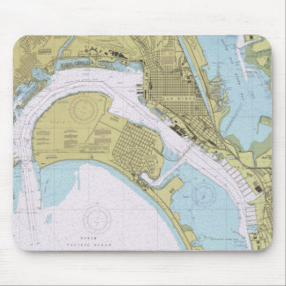 San Diego CA Nautical  Harbor Chart mousepad