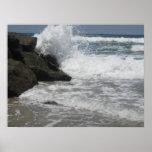 San Diego, Ca Ocean Beach Dog Beach Waves Poster