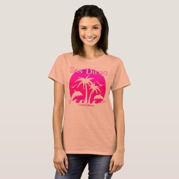 Beach Themed San Diego, CA Orange and Pink T-Shirt