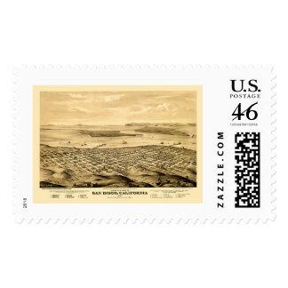 San Diego, CA Panoramic Map - 1876 Postage Stamp