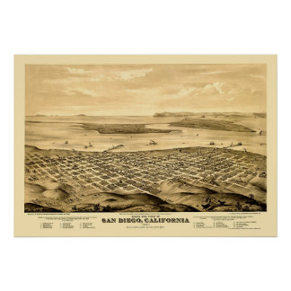 San Diego, CA Panoramic Map - 1876 Poster