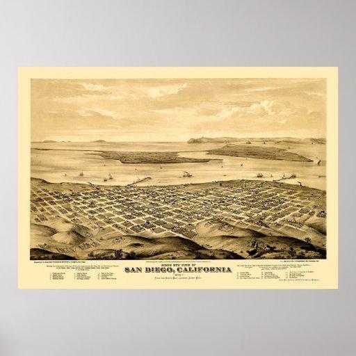 San Diego, CA Panoramic Map - 1876 Poster